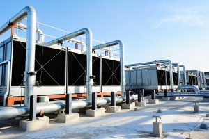 Cooling towers on contiuum commercial HVAC managed building